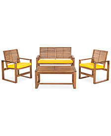Blaise 4 Piece Outdoor Wood Set, Quick Ship