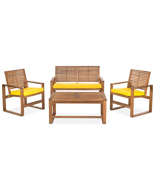 Safavieh  Blaise 4 Piece Outdoor Wood Set, Quick Ship