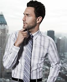 American Icons Calvin Klein Striped Tie & Glen-Plaid Dress Shirt Look