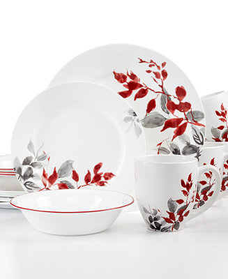 Corelle Kyoto Leaves Round 16 Pc Set Service For 4