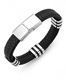 Sutton by Rhona Sutton Men's Stainless Steel Striped Station and Herringbone Leather Bracelet