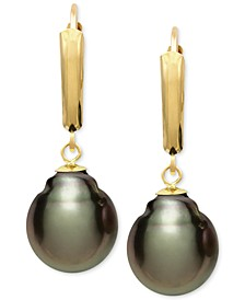 Tahitian Pearl (10mm) Leverback Earrings in 14k Gold