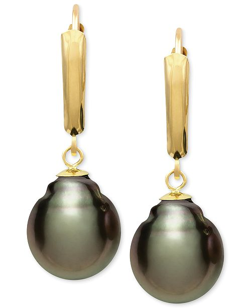 Macy's Tahitian Pearl (10mm) Leverback Earrings in 14k Gold