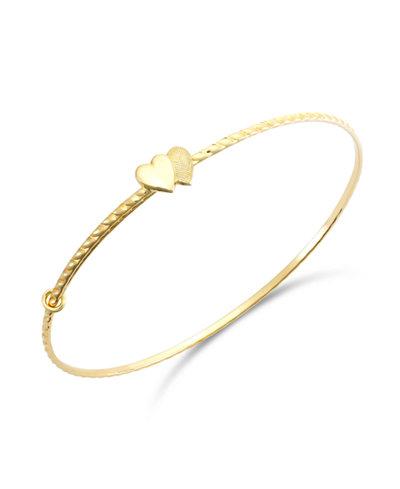 Children's Double Heart Twist Bracelet in 14k Gold
