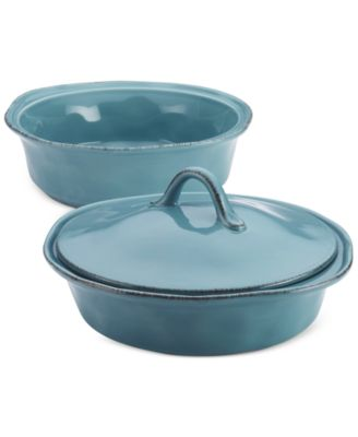 rachael ray cucina stoneware 3piece round casserole set with shared lid