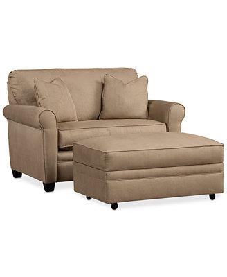 Kaleigh Fabric Twin Sleeper Chair Bed & Storage Ottoman