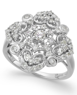 Wrapped in Love Diamond Vintage Ring in 14k White Gold (3/4 ct. t.w.) plus size,  plus size fashion plus size appare