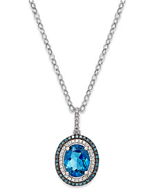 London Blue Topaz (3 ct. t.w.) and Diamond (1/4 ct. t.w.) Pendant Necklace in 14k White Gold