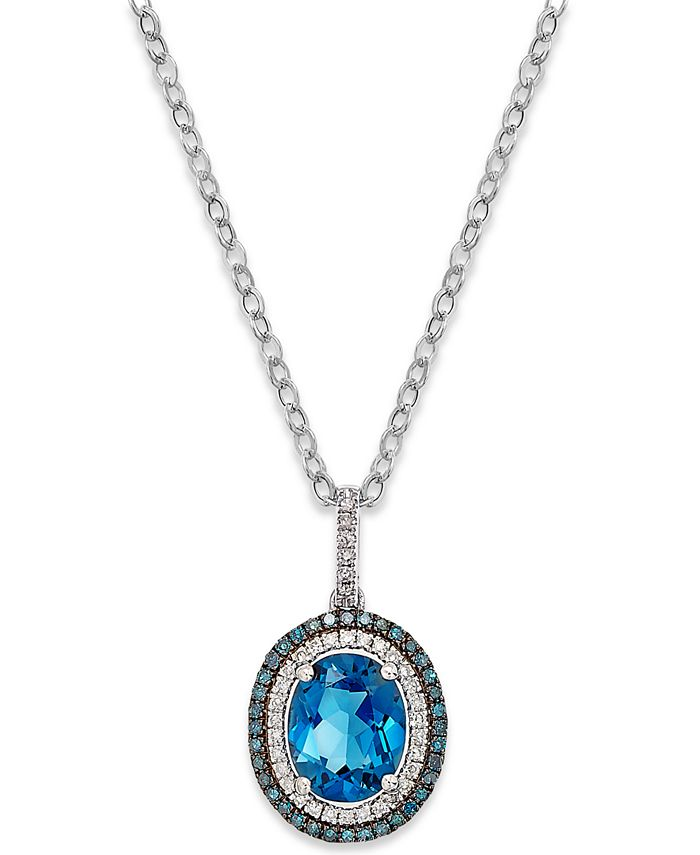 Macy's - London Blue Topaz (3 ct. t.w.) and Diamond (1/4 ct. t.w.) Pendant Necklace in 14k White Gold