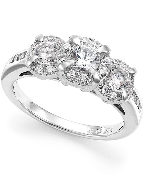 Macy's Diamond Three-Stone Halo Ring (1 ct. t.w.)  in 14k White Gold