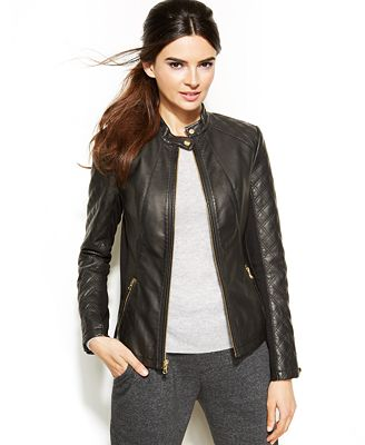 INC International Concepts Quilted Faux-Leather Moto Jacket ...