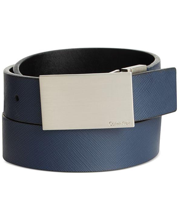 Calvin Klein Saffiano Leather Reversible Dress Belt