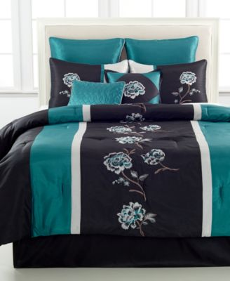 CLOSEOUT Barcelona Piece Comforter Sets Bed In A Bag Bed - Black and teal comforter sets