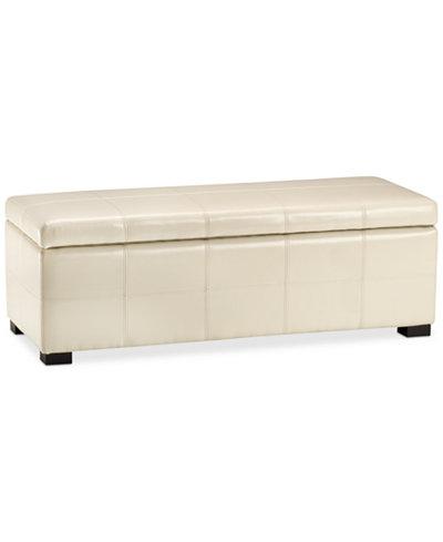 Aurora Faux Leather Storage Bench, Quick Ship
