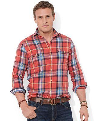 Polo ralph lauren big and tall long sleeve plaid shirt for Polo ralph lauren casual button down shirts