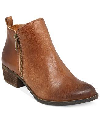 Lucky Brand Basel Smooth Leather Zip Block Heel Booties
