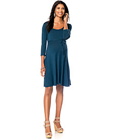 Motherhood Maternity Three-Quarter-Sleeve Flared Dress