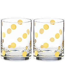 kate spade new york Pearl Place Set of 2 Double Old Fashion glasses