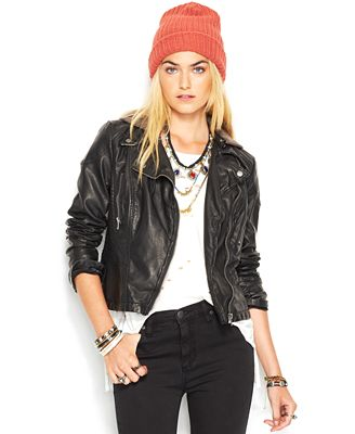 Free People Faux-Leather Hooded Moto Jacket - Jackets - Women - Macy's