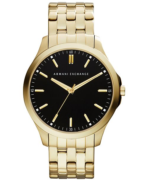 Armani Exchange A|X Men's Gold-Tone Stainless Steel Bracelet Watch 45mm AX2145