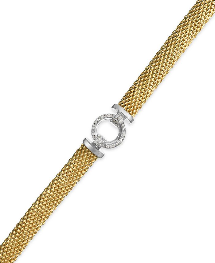 Macy's - Diamond Ring Accent Mesh Bracelet in Vermeil and Sterling Silver (1/4 ct. t.w.)