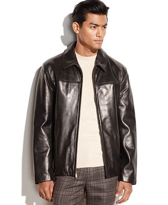 Cole Haan Smooth Leather Moto Jacket - Coats & Jackets - Men - Macy's