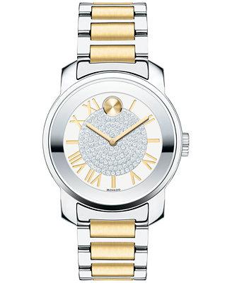 Women's Swiss Bold Two Tone Stainless Steel Bracelet Watch 32mm 3600256 by Movado