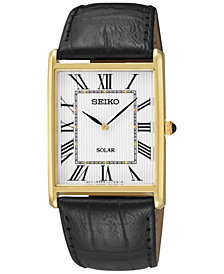 Seiko Men's Solar Black Leather Strap Watch 29mm SUP880