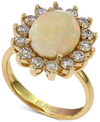 Effy Opal 1 7 8 Ct T W And Diamond 1 Ct T W Ring