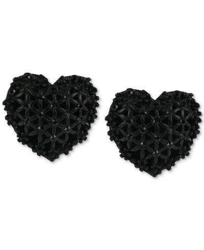 Betsey Johnson Black Heart Button Stud Earrings