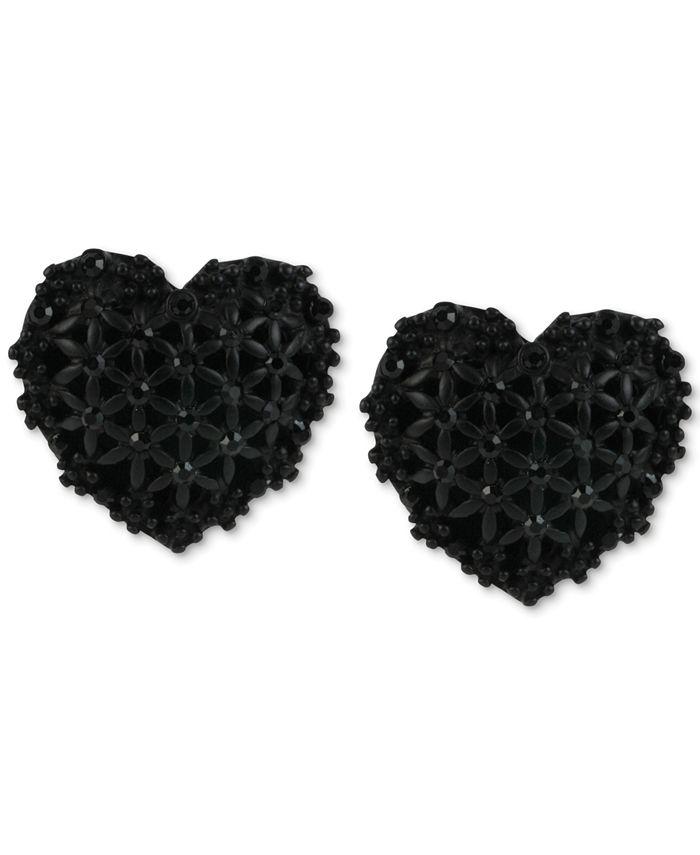 Betsey Johnson - Black Heart Button Stud Earrings