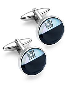 Sutton by Rhona Sutton Stainless Steel Glass and Cubic Zirconia Circle Cuff Links