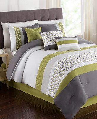 CLOSEOUT Grove 7 Piece Embroidered forter Sets Bed