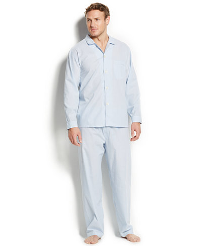 Club Room Men's Allure Blue Stripe Shirt and Pants Pajama Set