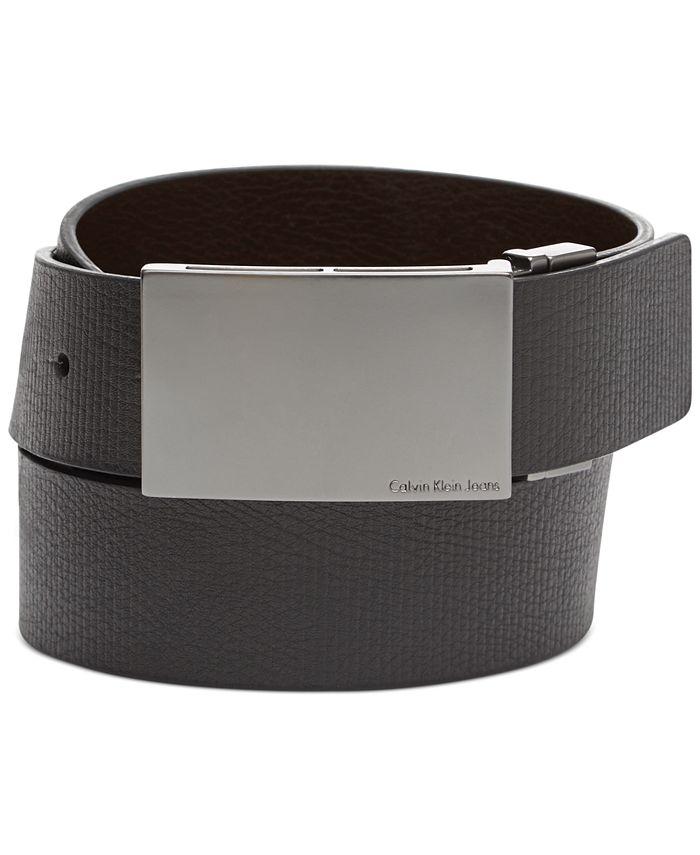 Calvin Klein - Reversible Embossed Plaque Belt