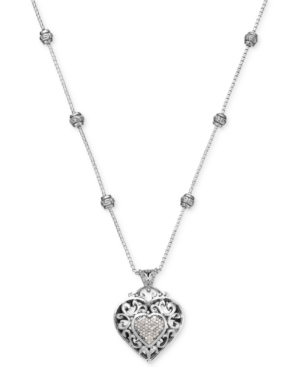 Diamond Vintage Heart Pendant Necklace in Sterling Silver (1/4 ct. t.w.) plus size,  plus size fashion plus size appare