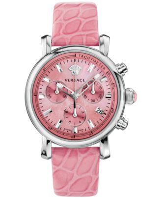 Versace Women's Swiss Chronograph Day Glam Pink Alligator-Embossed Leather Strap Watch 38mm VLB030014