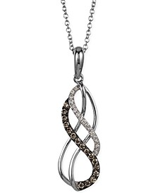 White and Chocolate Diamond Swirl Pendant Necklace in 14k White Gold (1/5 ct. t.w.)