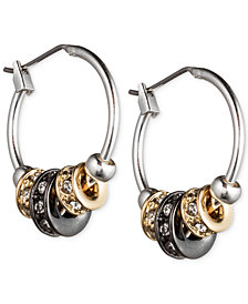 Nine West Tri-Tone Slider Hoop Earrings