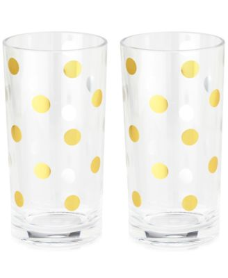 Gold Dots Set of 2 Acrylic Highball Glasses