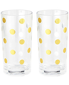 kate spade new york Gold Dots Set of 2 Acrylic Highball Glasses