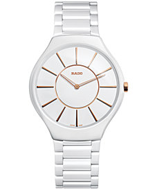 Rado Unisex Swiss True Thinline White High-Tech Ceramic Bracelet Watch 39mm R27957102
