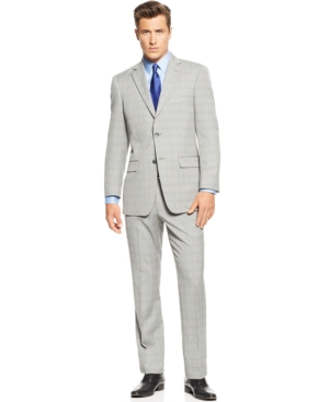 Men's Vintage Style Suits, Classic Suits Perry Ellis Portfolio Black and White Glen Plaid Trim-Fit Suit $99.99 AT vintagedancer.com