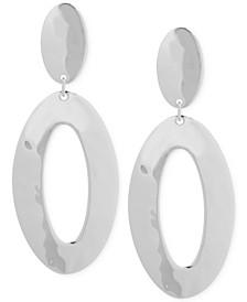 Silver-Tone Oval Double Drop Earrings