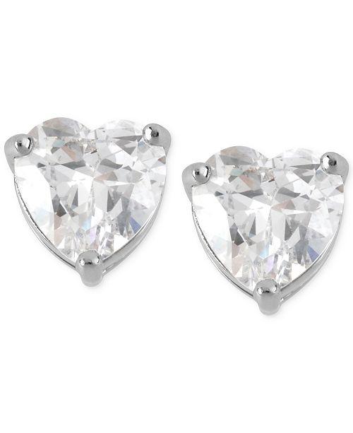 Betsey Johnson Silver-Tone Clear Crystal Heart Stud Earrings