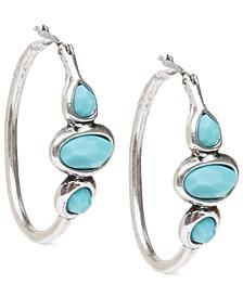 "Silver-Tone Turquoise 1"" Hoops Earrings"