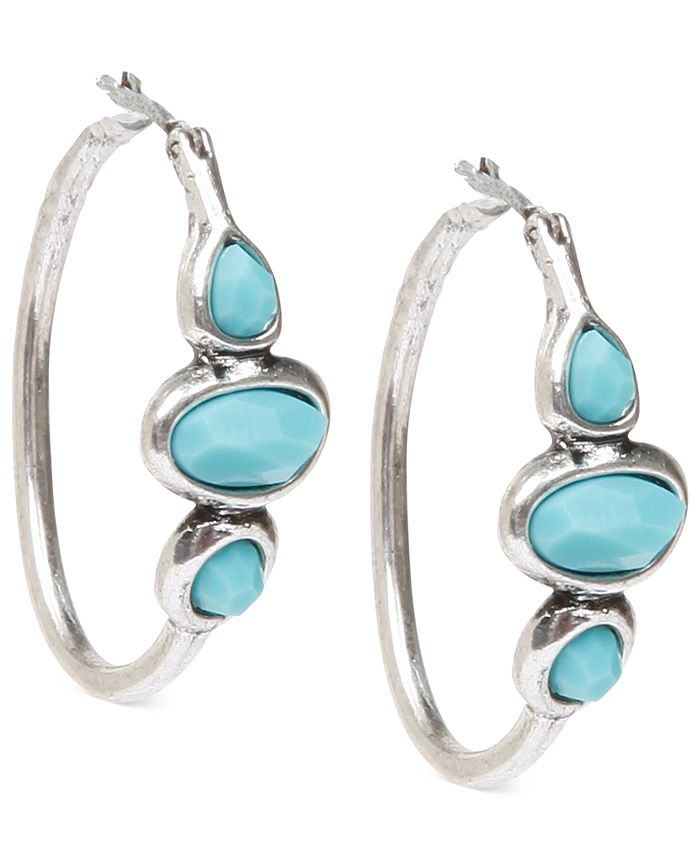 Lucky Brand - Silver-Tone Turquoise Hoops Earrings
