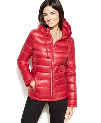 Calvin Klein Petite Hooded Quilted Packable Down Puffer