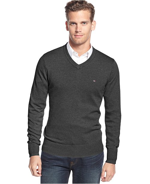 a681a6703 Tommy Hilfiger Big & Tall Men's Signature Solid V-Neck Sweater ...