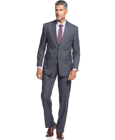 Jones New York Navy Tonal Plaid Suit